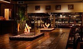 Restaurant La Cave Hospitality Fireplaces Built-In Fire Idea